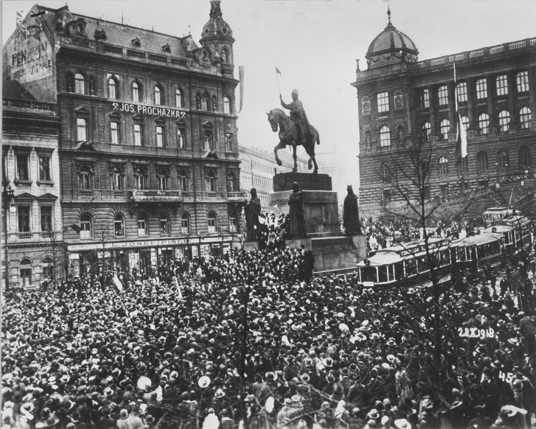 Ogłoszenie niepodległości Czechosłowacji na Placu Wacława w Pradze - 28 października 1918
